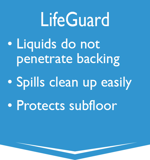 LifeGuard - Liquids do not penetrate backing, Spills clean up easily, Protects subfloor